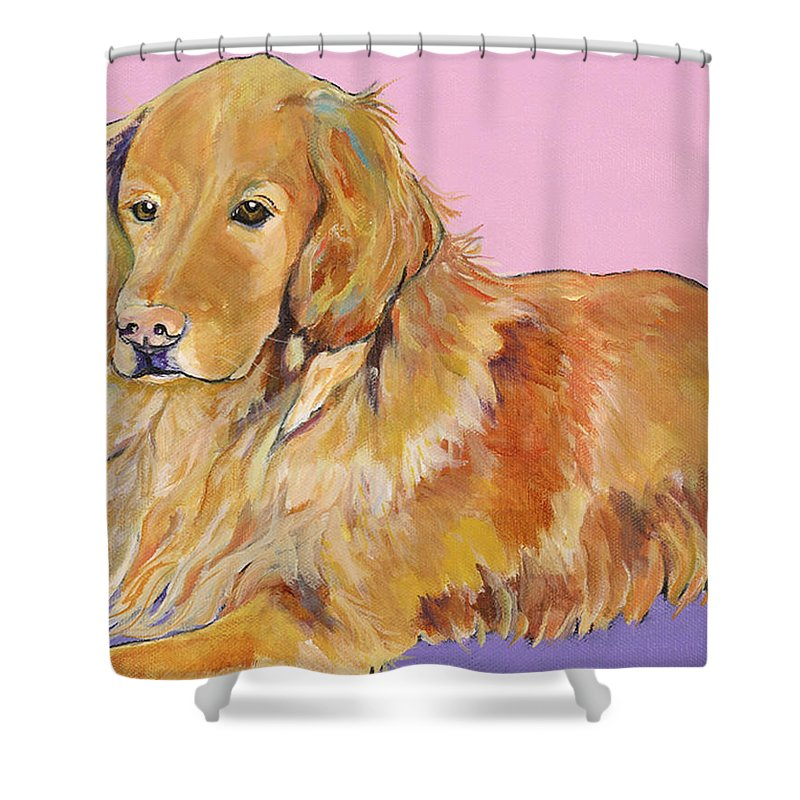 Golden Retriever Shower Curtain featuring the painting Maya by Pat Saunders-White