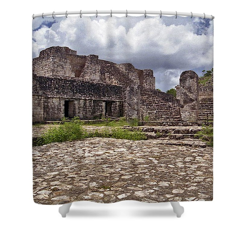 Chichen Itza Shower Curtain featuring the photograph Mayan Ruins 1 by Michael Peychich