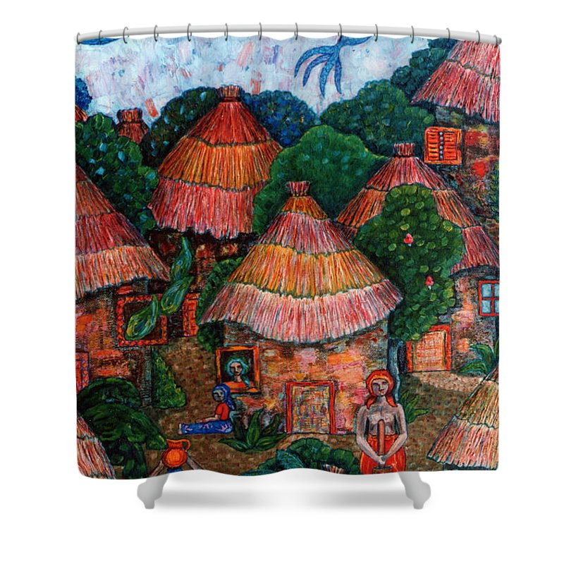 Africa Shower Curtain featuring the painting Maybe That Was My Country by Madalena Lobao-Tello