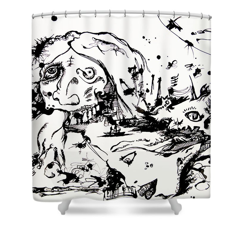 Surreal Shower Curtain featuring the drawing Maybe We Said Too Much by Joseph Demaree