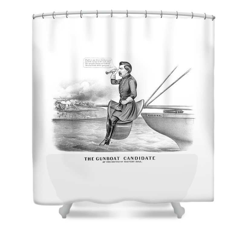 George Mcclellan Shower Curtain featuring the drawing Mcclellan The Gunboat Candidate by War Is Hell Store