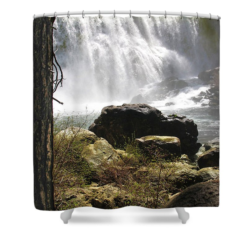 Landscape Shower Curtain featuring the photograph Mccloud Middle Falls by Karen W Meyer