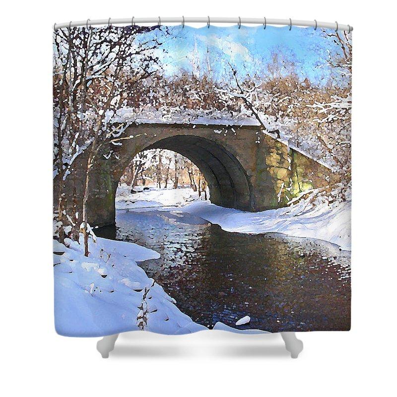Landscape Shower Curtain featuring the digital art Mcgowan Bridge by Steve Karol