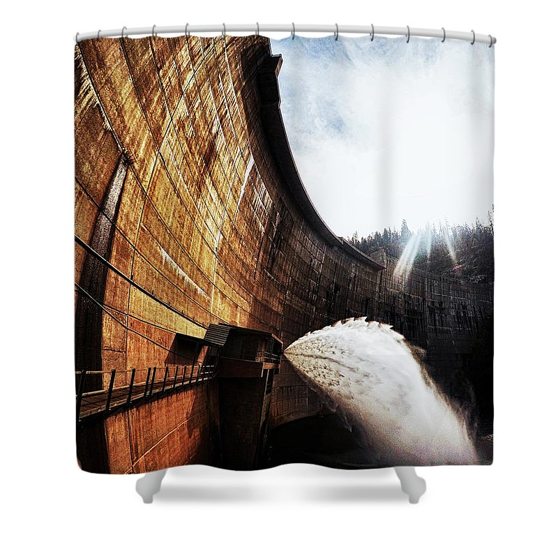 Dam Shower Curtain featuring the photograph Mckays Dam Waterjet by Aaron James