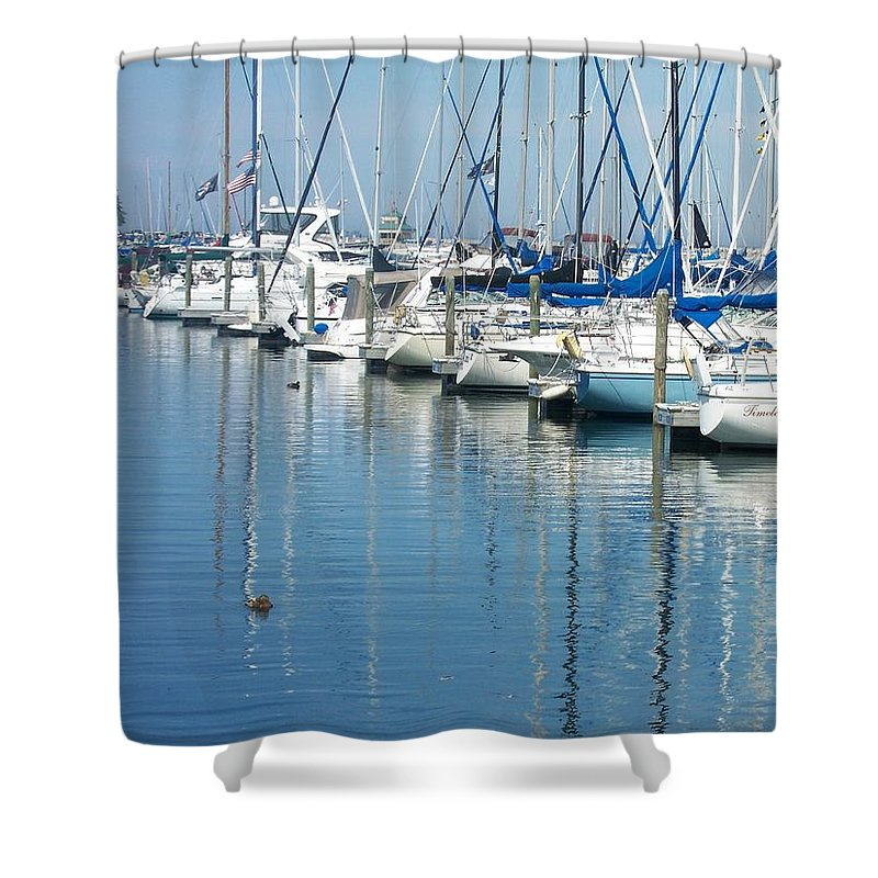 Mckinley Marina Shower Curtain featuring the photograph Mckinley Marina 3 by Anita Burgermeister