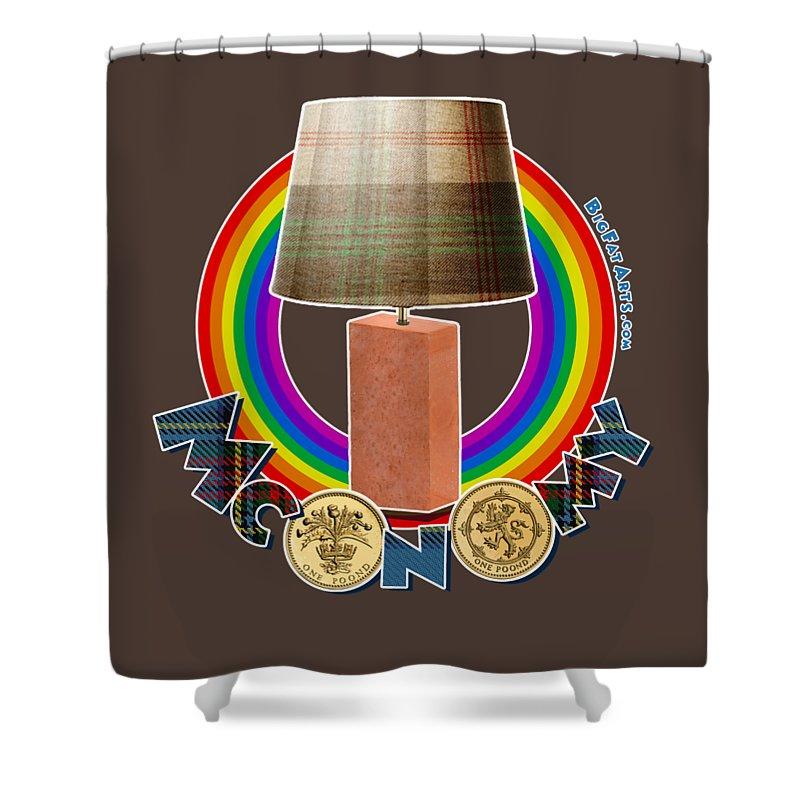 Rainbow Brick Lamp Victoria Wood Tartan Mconomy Shower Curtain featuring the digital art Mconomy Rainbow Brick Lamp by Big Fat Arts