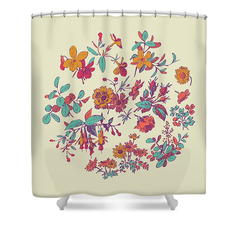 Floral Shower Curtain featuring the digital art Meadow Flower And Leaf Wreath Isolated On Beige, Circle Doodle F by Svetlana Corghencea
