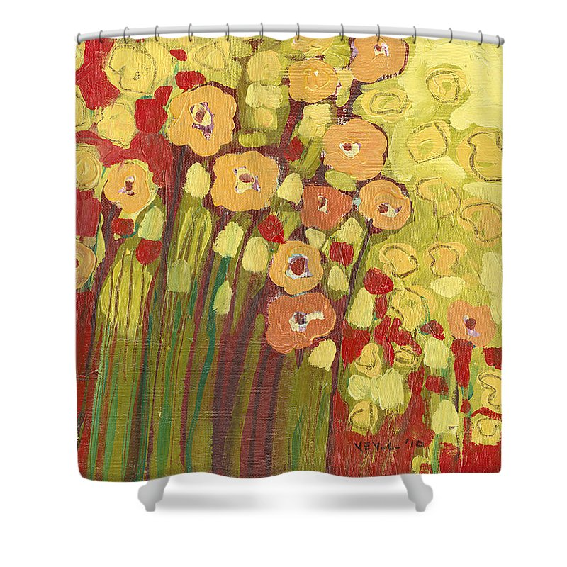 Floral Shower Curtain featuring the painting Meadow In Bloom by Jennifer Lommers