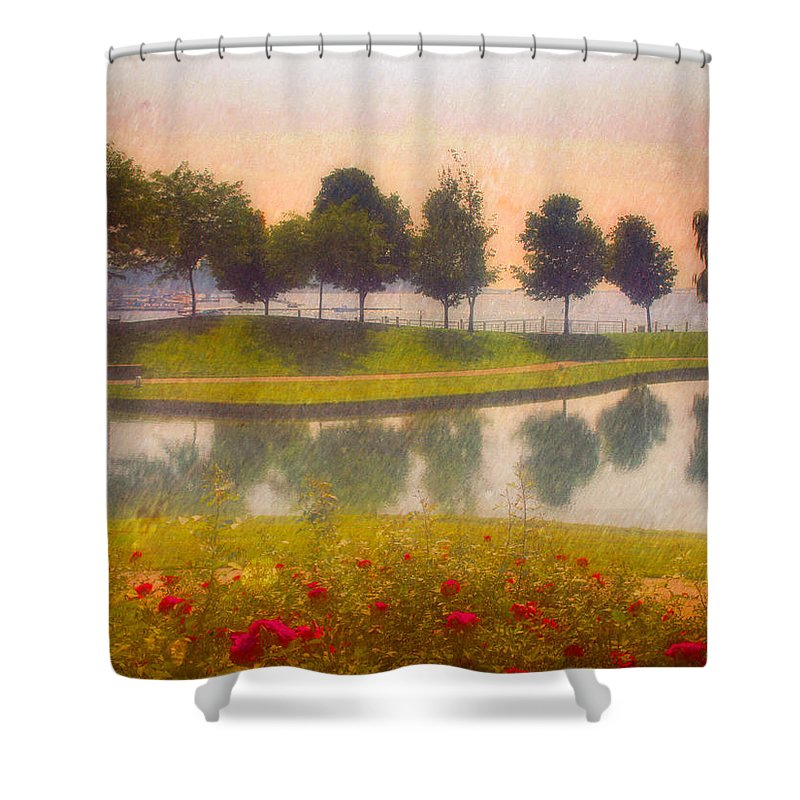 Trees Shower Curtain featuring the photograph Measured Reflections by Tara Turner