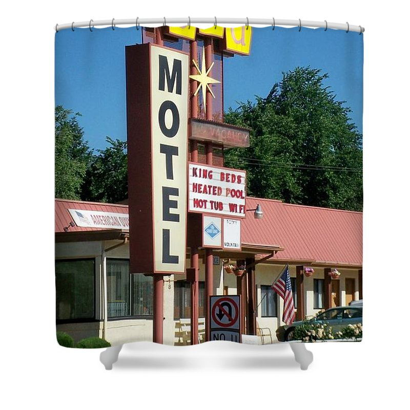 Vintage Motel Signs Shower Curtain featuring the photograph Mecca Motel by Anita Burgermeister
