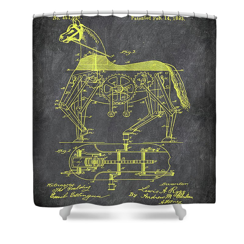 Patent Shower Curtain featuring the mixed media Mechanical Horse Patent Art 1i by Brian Reaves