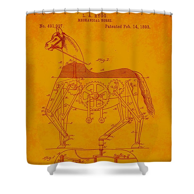 Patent Shower Curtain featuring the mixed media Mechanical Horse Patent Art 1n by Brian Reaves