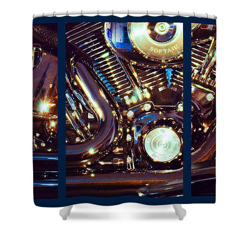 Harley Davidson Shower Curtain featuring the photograph Mechanism by Steve Karol