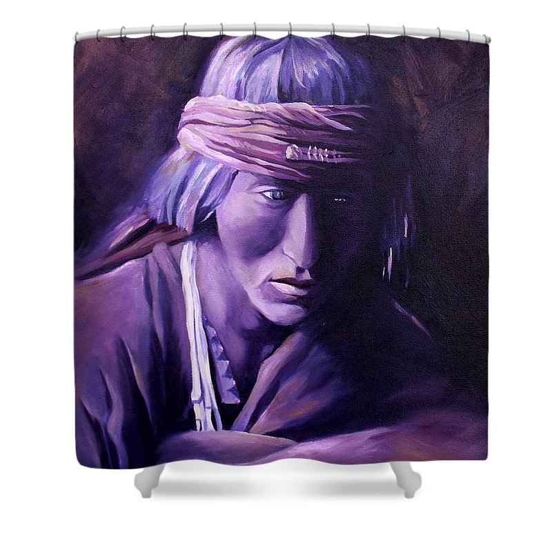 Native American Shower Curtain featuring the painting Medicine Man by Nancy Griswold