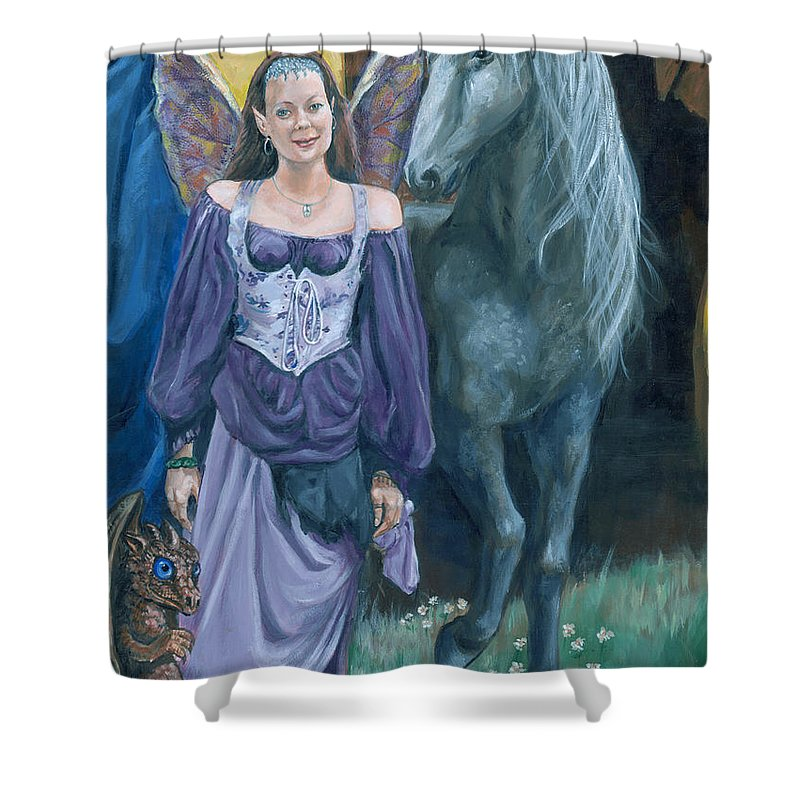 Fairy Faerie Unicorn Dragon Renaissance Festival Shower Curtain featuring the painting Medieval Fantasy by Bryan Bustard