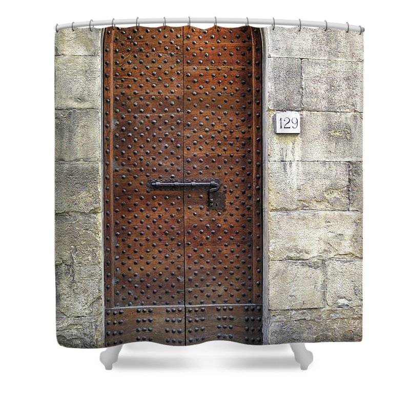Florence Shower Curtain featuring the photograph Medieval Florence Door by Dave Mills