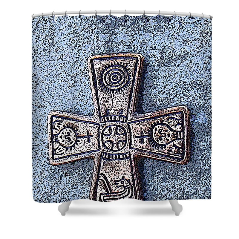 Cross Shower Curtain featuring the photograph Medieval Nordic Cross by Merja Waters