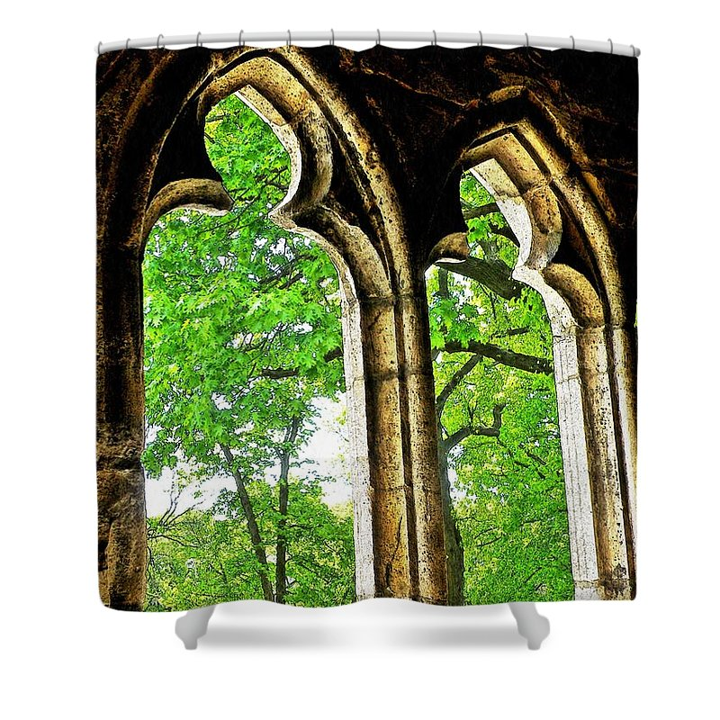 Tree Shower Curtain featuring the photograph Medieval Triptych by Sarah Loft