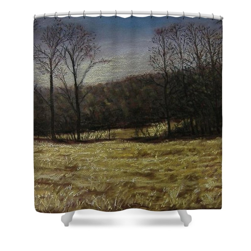 Landscape Shower Curtain featuring the pastel Medina Cornfield by Pat Snook