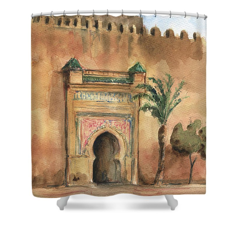 Morocco Art Shower Curtain featuring the painting Medina Morocco, by Juan Bosco