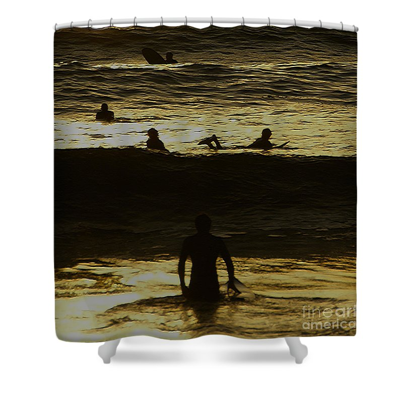 Ocean Shower Curtain featuring the photograph Meditari - Gold by Linda Shafer