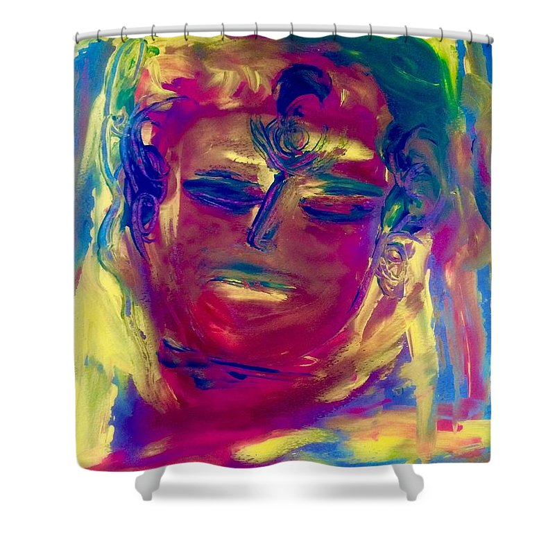 Available In Art Shower Curtain featuring the painting Meditating On Love by Marilyn St-Pierre