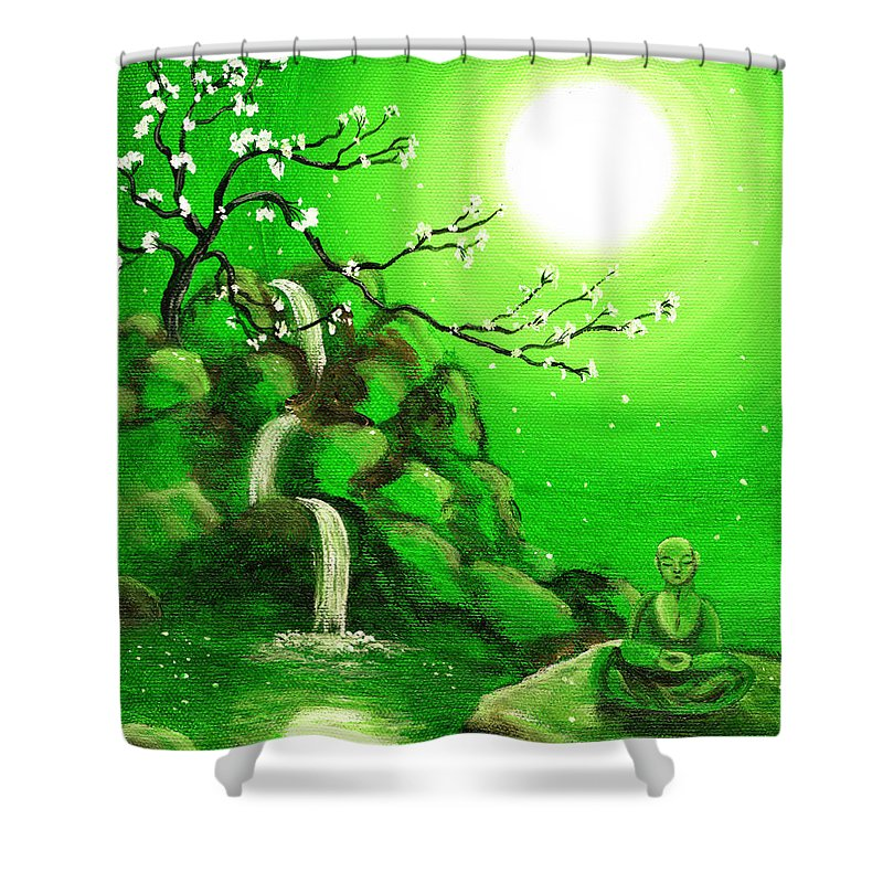 Landscape Shower Curtain featuring the painting Meditating While Cherry Blossoms Fall In Green by Laura Iverson
