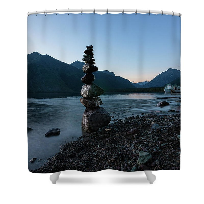 Rocks Shower Curtain featuring the photograph Meditation by Alan Anderson