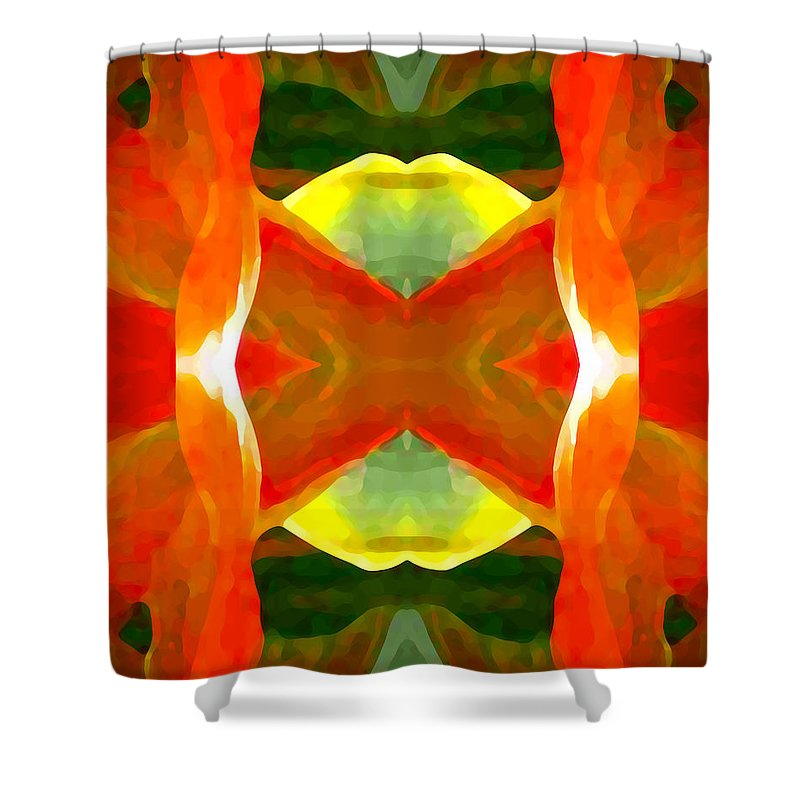 Abstract Shower Curtain featuring the painting Meditation by Amy Vangsgard