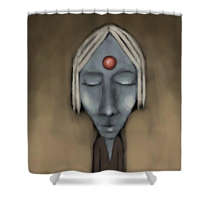 Strange Shower Curtain featuring the digital art Meditation by Lori Wadleigh