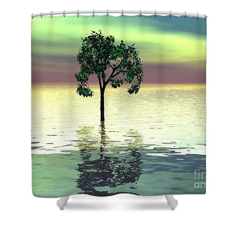 Decorative Shower Curtain featuring the digital art Meditation by Oscar Basurto Carbonell