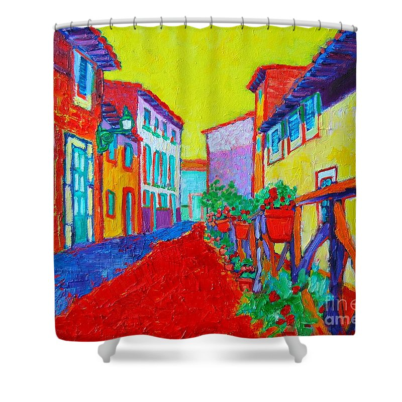 Mallorca Shower Curtain featuring the painting Mediterranean Cityscape by Ana Maria Edulescu