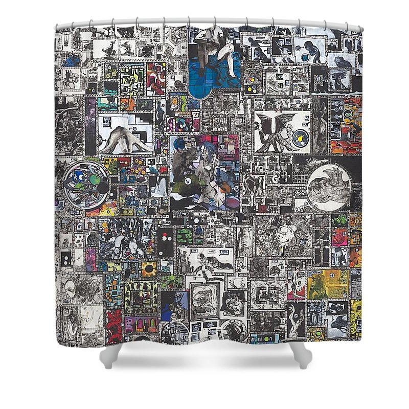Zak Smith Shower Curtain featuring the painting Medusa Maze by Zak Smith