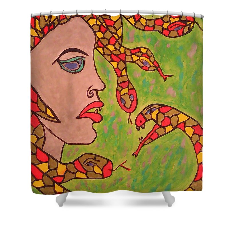 16x20 Shower Curtain featuring the painting Medussa by Marcela Hessari