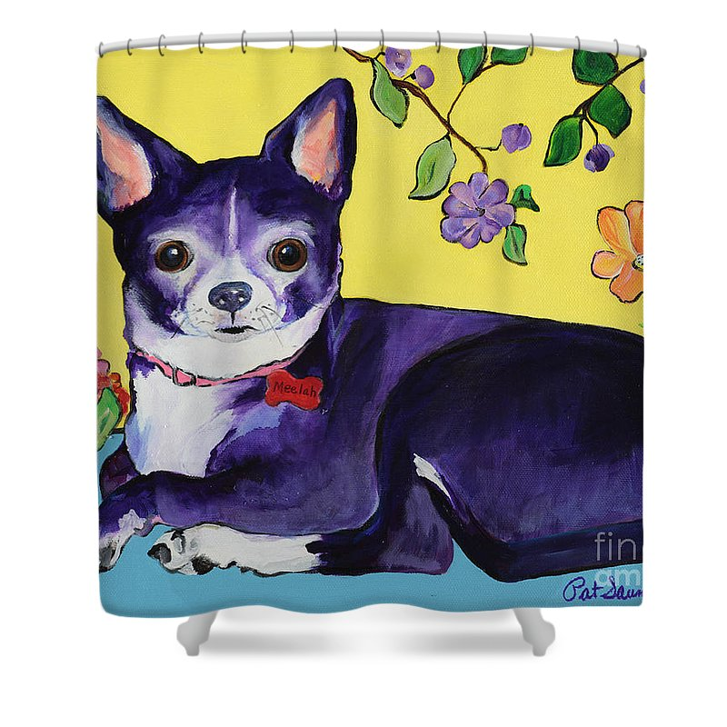Shower Curtain featuring the painting Meelah by Pat Saunders-White