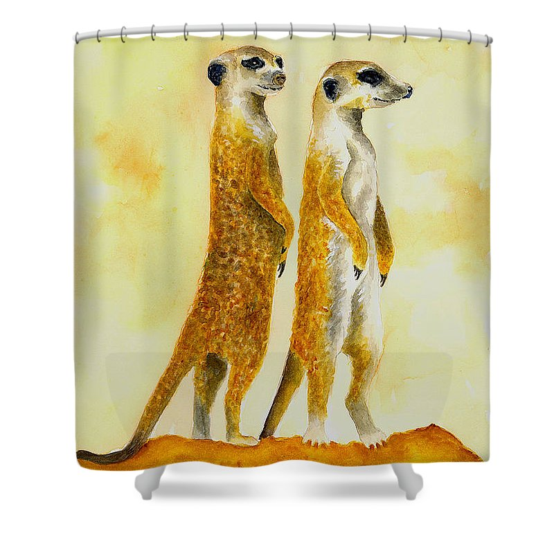 Meerkats Shower Curtain featuring the painting Meerkats by Michael Vigliotti