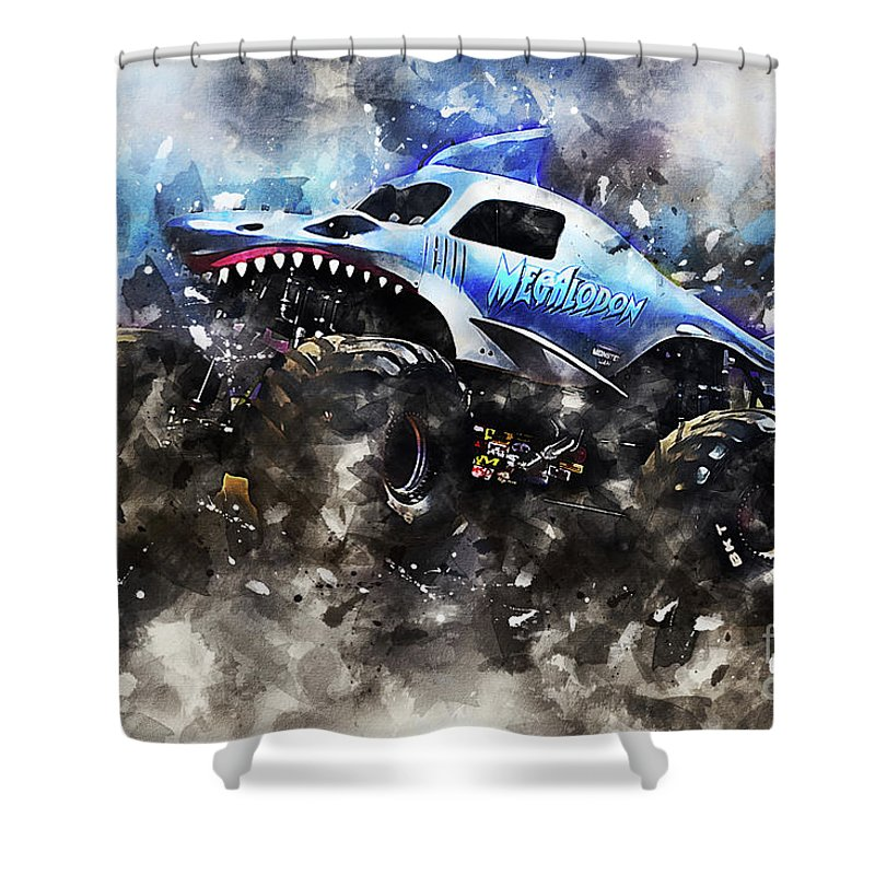 Megalodon Shower Curtain Featuring The Digital Art By J Biggadike