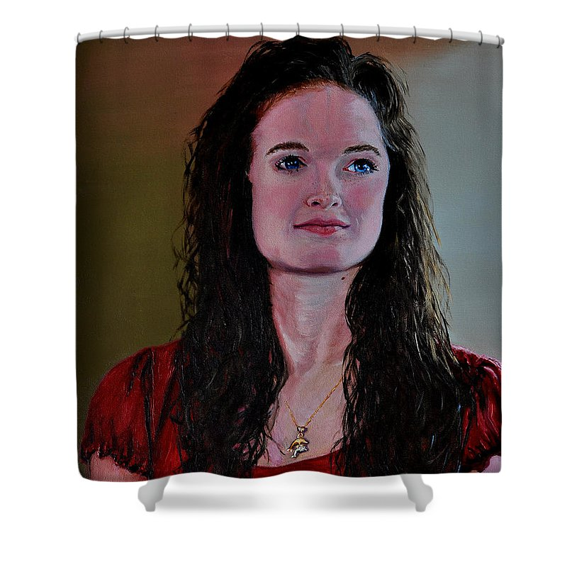 Woman Shower Curtain featuring the painting Megan At Eighteen by Stan Hamilton