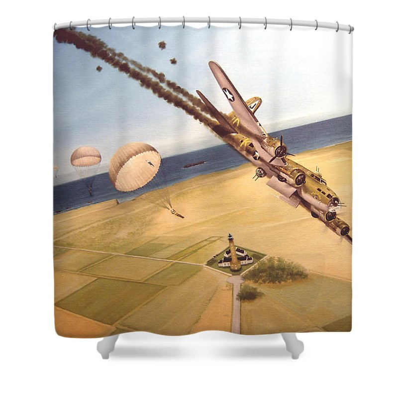 Aviation Shower Curtain featuring the painting Mehitabel by Marc Stewart