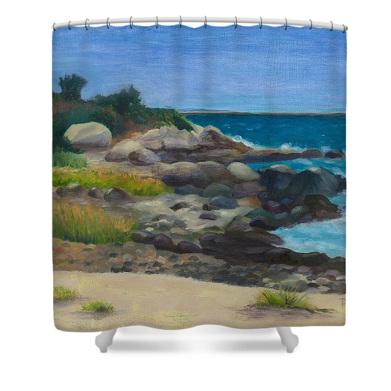 Landscape Shower Curtain featuring the painting Meigs Point by Paula Emery