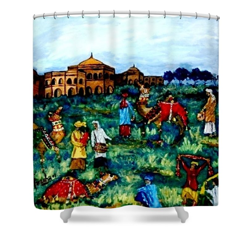 Oil Painting Shower Curtain featuring the painting Mela - Carnival by Fareeha Khawaja