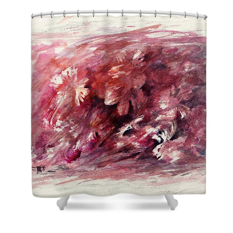 Floral Shower Curtain featuring the painting Melancholic Moment by Rachel Christine Nowicki