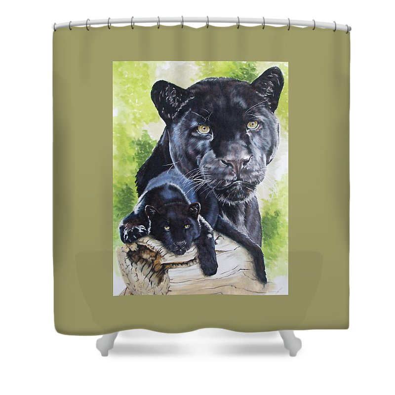 Big Cat Shower Curtain featuring the mixed media Melancholy by Barbara Keith