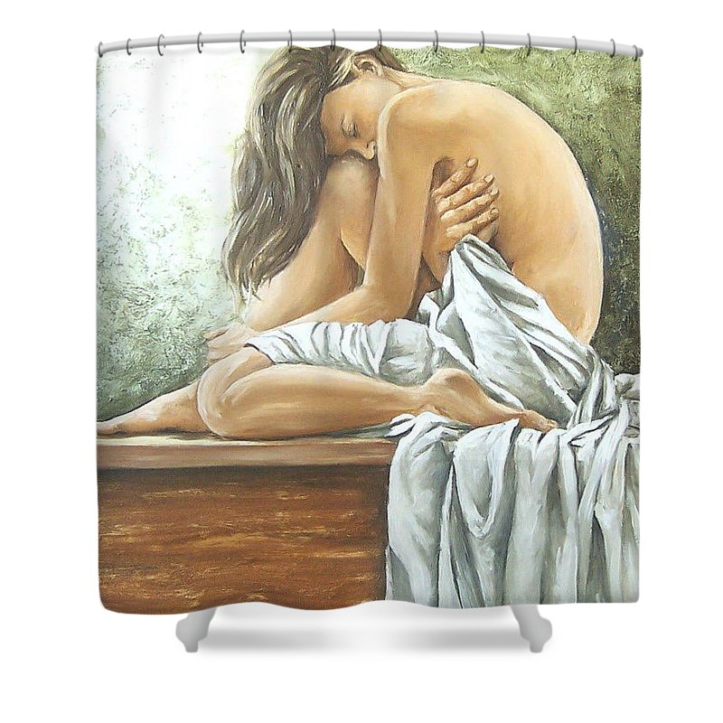 Gir Shower Curtain featuring the painting Melancholy by Natalia Tejera