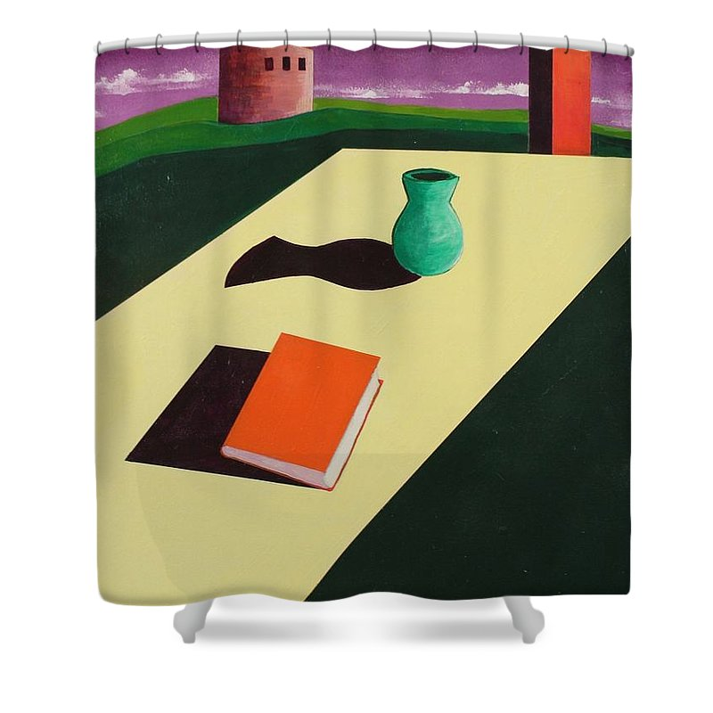 Surrealism Shower Curtain featuring the painting Melancholy by Rollin Kocsis