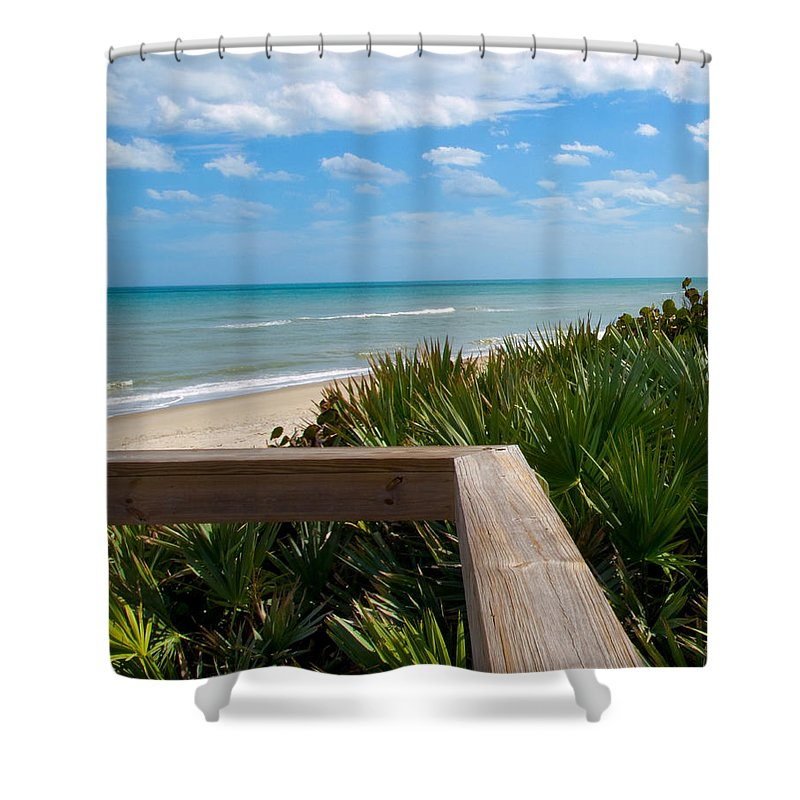 Beach; February; Florida; Warm; Warmth; Temperature; Degrees; Weather; Sun; Melbourne; Sand; Shore; Shower Curtain featuring the photograph Melbourne Beach In Florida by Allan Hughes