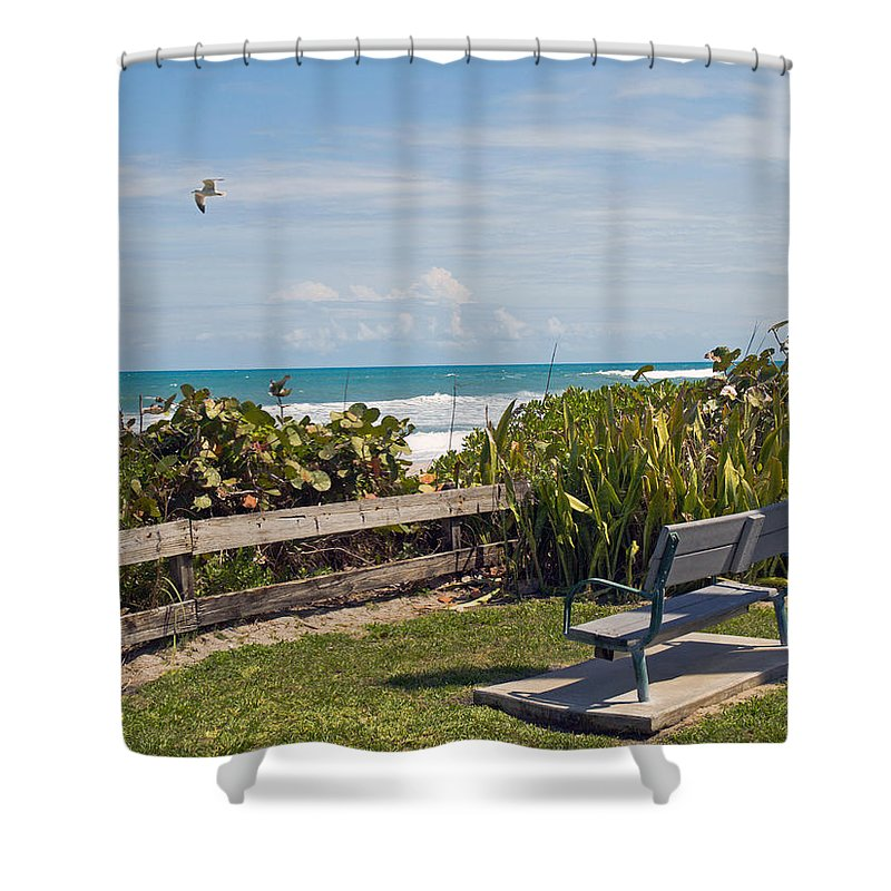Bench; Public; Florida; Melbourne; Beach; Coast; Shore; Surf; Sand; Brevard; Space; Ocean; Sea; Atla Shower Curtain featuring the photograph Melbourne Beach In Florida Usa by Allan Hughes