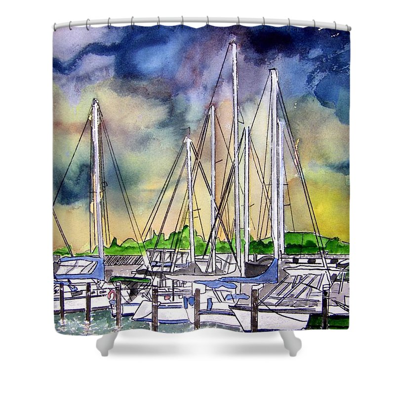 Boat Shower Curtain featuring the digital art Melbourne Florida Marina by Derek Mccrea
