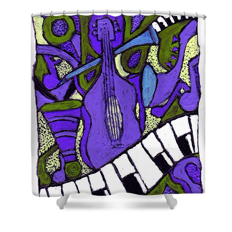 Jazz Shower Curtain featuring the painting Melllow Jazz by Wayne Potrafka
