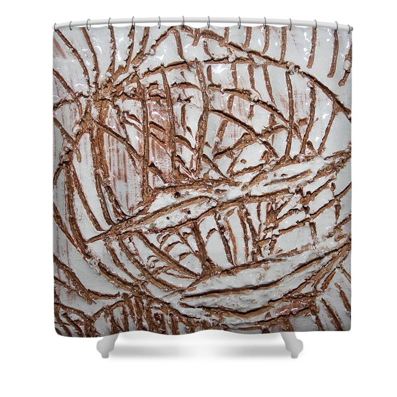 Jesus Shower Curtain featuring the ceramic art Mellow - Tile by Gloria Ssali